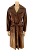 1970s Brown Leather Trench Coat w/ Pocket Detail