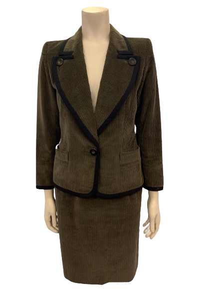 Olive-green, corduroy, two-piece skirt suit. Single-button jacket with wide lapels. Double-pleated skirt.