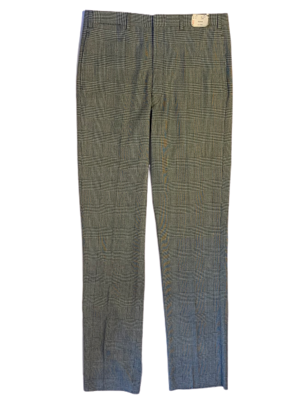 Front view of men's deadstock grey herringbone wool trousers