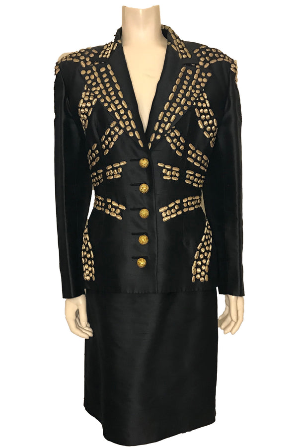 1980s Valentino Boutique Gold Embroidered Skirt Suit