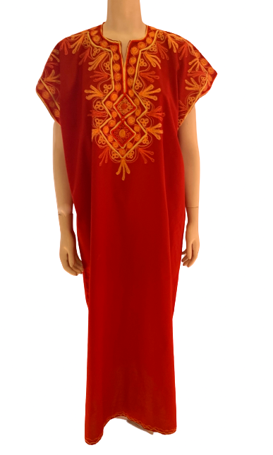 1970s Unisex Morrocan Red Embroidered Kaftan w/ Chain Stitching