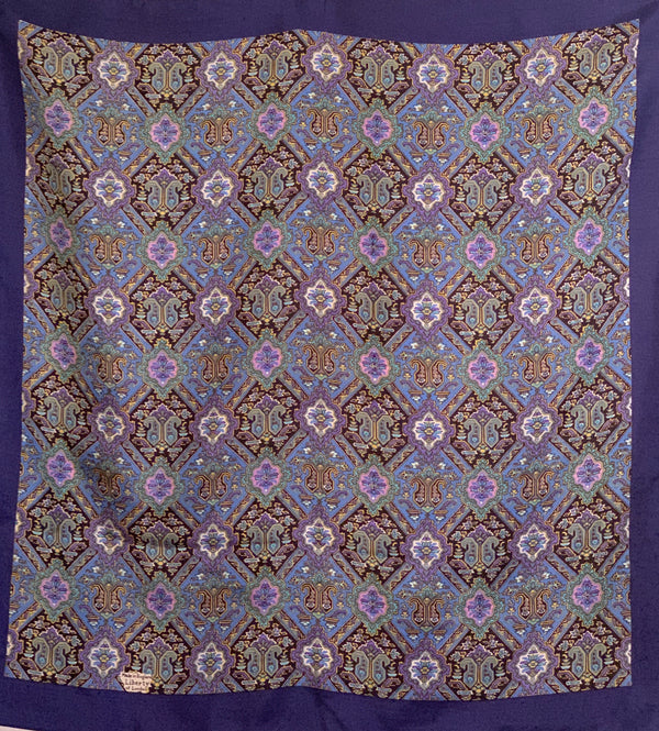1960s Liberty of London Blue Floral Scarf