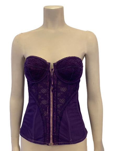 1980s Purple Lace & Satin Bustier