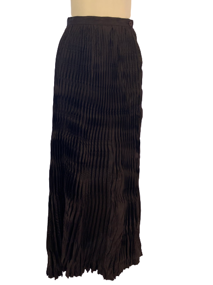 Dark brown, floor-length, crinkle pleated skirt.