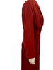 Rust color, long-sleeve, ruched dress with buttons on the cuff.