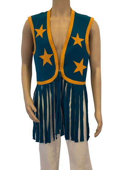 Teal & Yellow Fringe Vest w/ Star Appliques