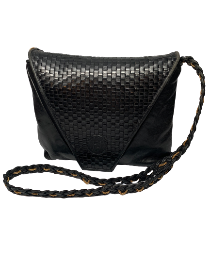 Fendi woven envelope bag in black leather with long braided shoulder strap . Fendi logo is embossed on the front.