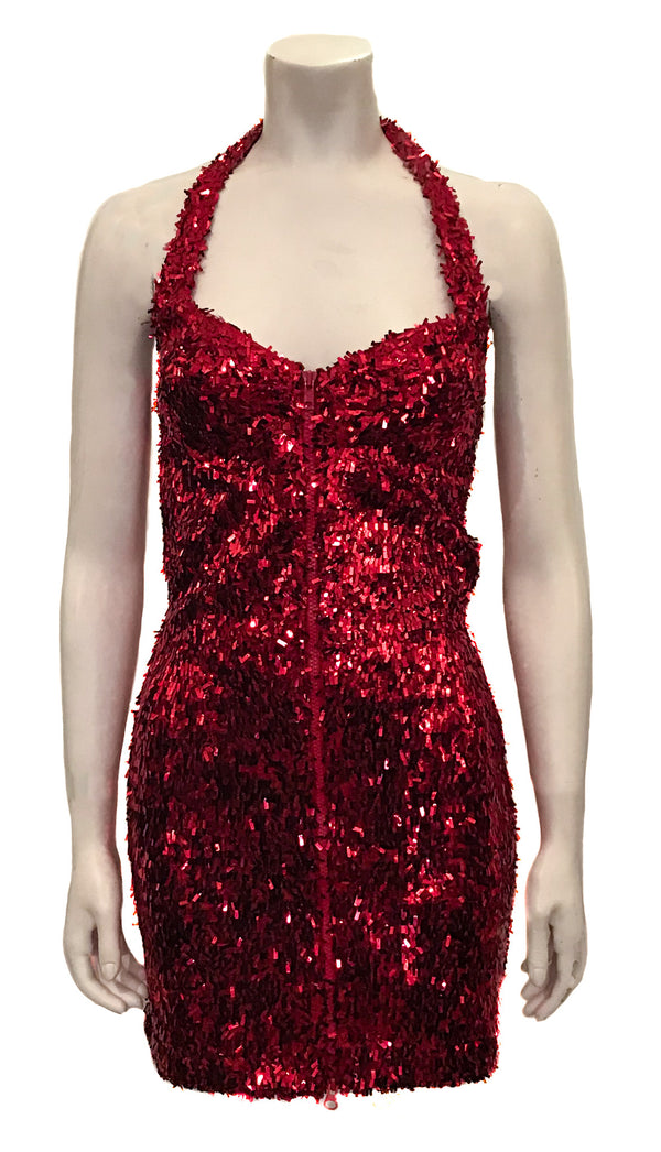 Red sequin stretch bodycon dress with halter neck and zip front. Length is above the knee.