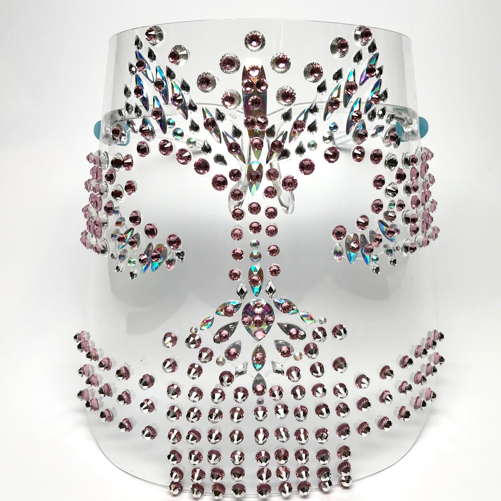 Glam Face Shield w/ Opalescent Rhinestones & Pink Multilayered Swarovski Crystals