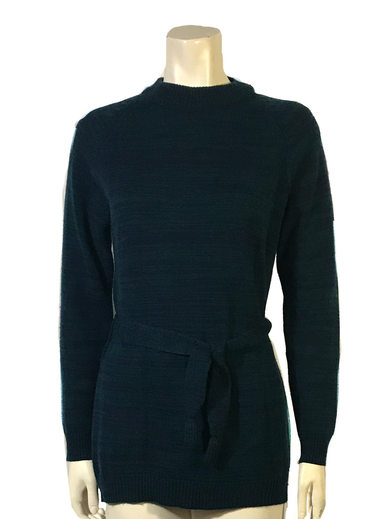Front view of mannequin in a blue and green knit long sleeve mock neck sweater