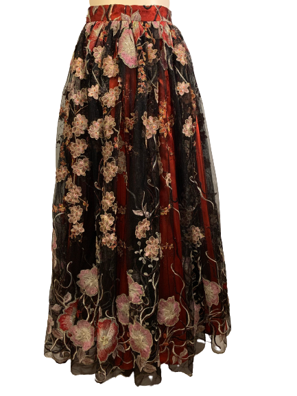 Formal maxi-skirt with red satin slip and sheer red, pink, and cream floral embroidered overlay.