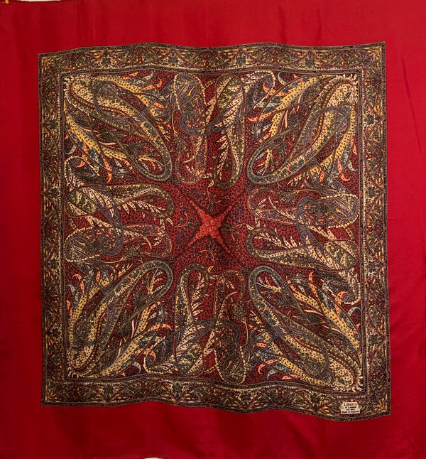 Liberty of London 1970s Silk Wine & Gold Paisley Scarf