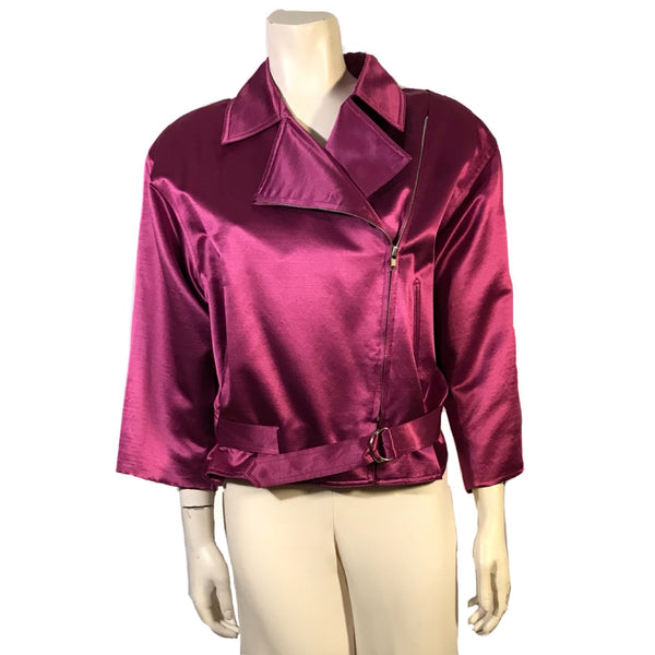 Magenta satin motorcycle style jacket with three quarter sleeves an attached belt at waist and zipper front