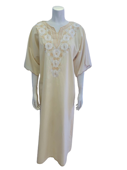 1970s Tesoro's Philippines Creme Floral Embroidered Kaftan