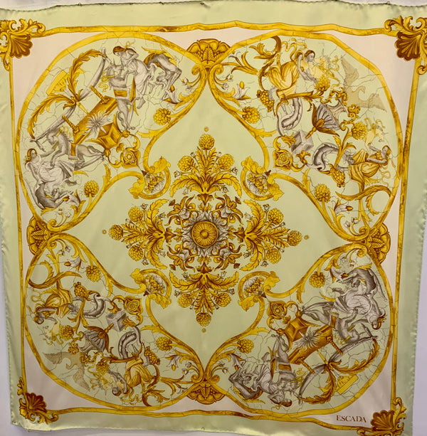 Silk square scarf with a green and gold Roman Revival print of figures, animals and flowers