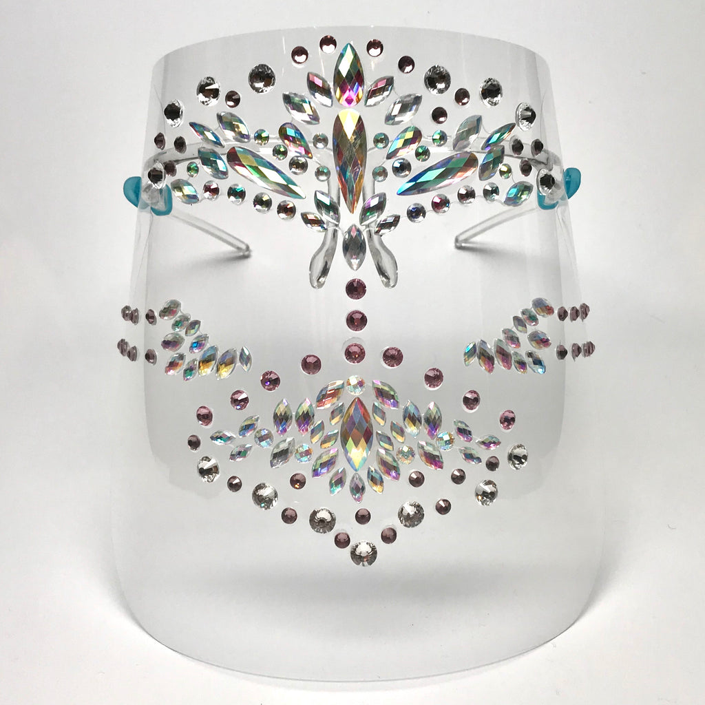 Glam Face Shield w/ Opalescent Rhinestones & Pink and Clear Swarovski Crystals
