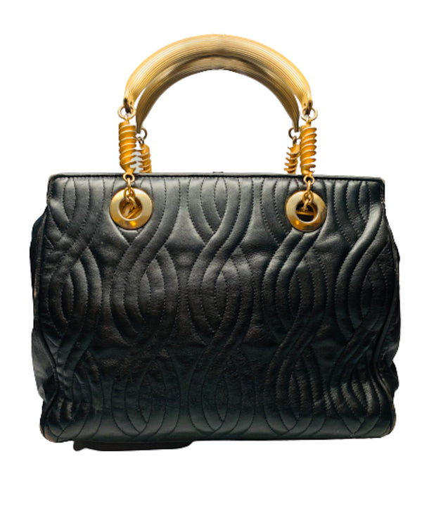 Black leather Fendi handbag with stitched leather body in a wavy  pattern. The handles and hardware are in gold-tone metal and chain.