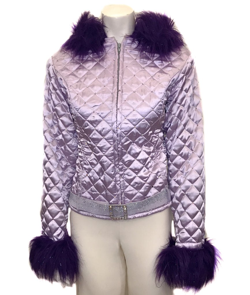 Lilac, quilted jacket with hood and purple, faux-fur trim. Rhinestone embellishments and belt.