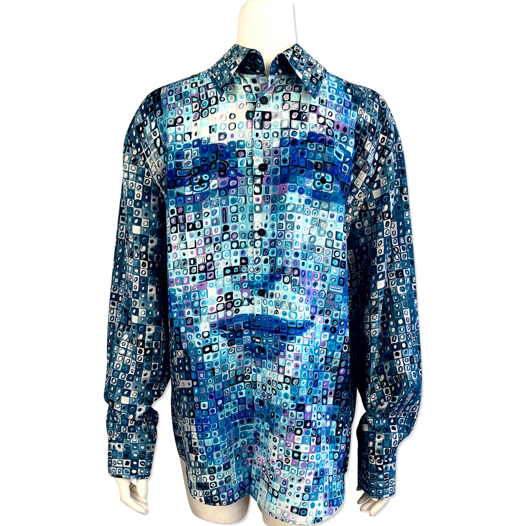 "Gianni Versace Men's Trompe L'Oeil ""Donatella"" Silk Shirt"