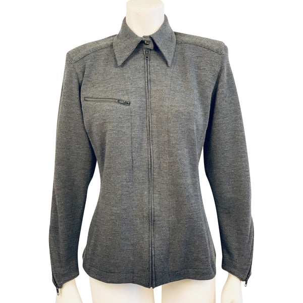 Front view of mannequin wearing a Claude Montana fine grey wool knit collared zip-up shirt with horizontal zipper pocket on the chest.