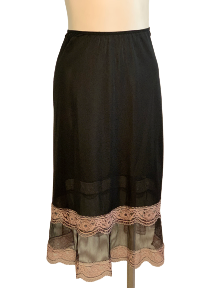 1950s Black & Pink Lace Slip Skirt