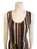 Sleeveless jumpsuit in a brown and cream stripe. Button front, pant legs are straight.