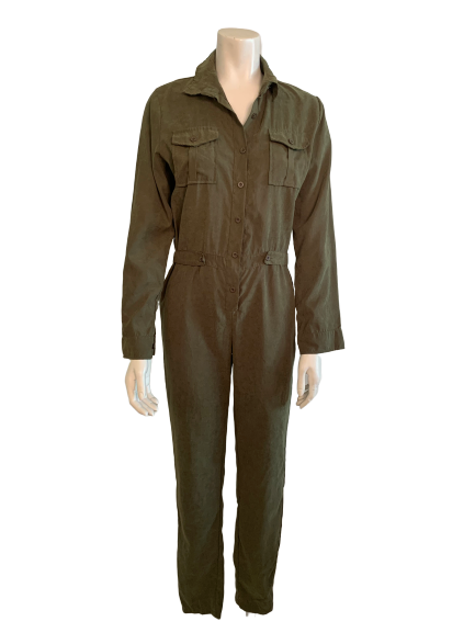 1990s Olive Silk Blend Military Style Jumpsuit