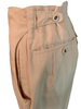 Khaki, creased trousers with buttons at the back waistband.