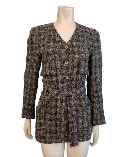 Sonia Rykiel 1970s Sporty Tweed Tie Waist Jacket