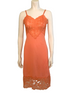 1950s Coral Nylon and Lace Slip Dress