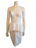 1980s White Bustier Peplum Dress