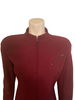 Burgundy, high-neck, zip-front jacket with fishtail-pleats at the back.