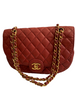 1980s Chanel Red Quilted Lambskin Round Flap Bag