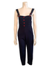 1990s Navy Bib w Red Button Detail Jumpsuit