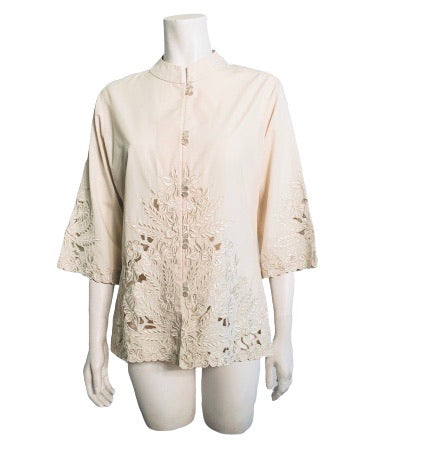 1970s Creme Embroidered Cut Out Blouse