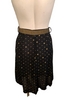 1980s Black & Metallic Gold Dotted Skirt w Belt