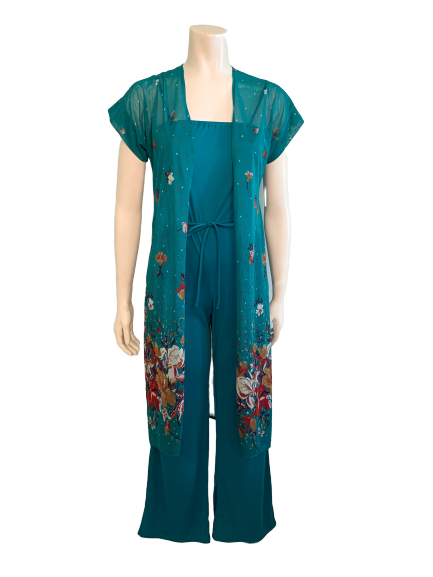 1970s 2Pc Teal Jumpsuit w Floral Tunic