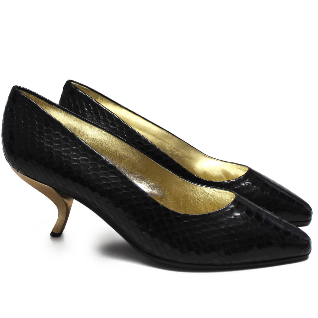 Roger Vivier 1980s Black Snakeskin with Unique Gold Comma Heels