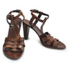 Front and side view of brown Max Mara heeled leather sandal