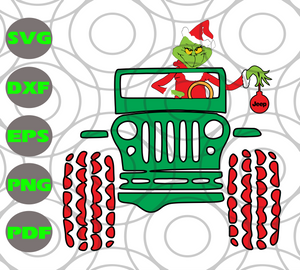 Grinch driving jeep, grinch christmas, PNG, DXF, EPS, PDF, SVG