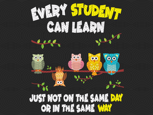 Every student can learn just not on the same day or in the same way, PNG, DXF, EPS, PDF, SVG