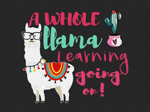 A whole llama learning going on SVG Files For Silhouette, Files For Cricut, SVG, DXF, EPS, PNG Instant Download