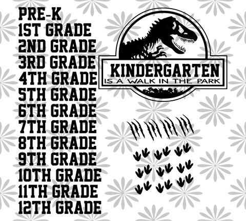 Kindergarten is a walk in the park, dinosaur clipart, PNG, DXF, EPS, PDF, SVG