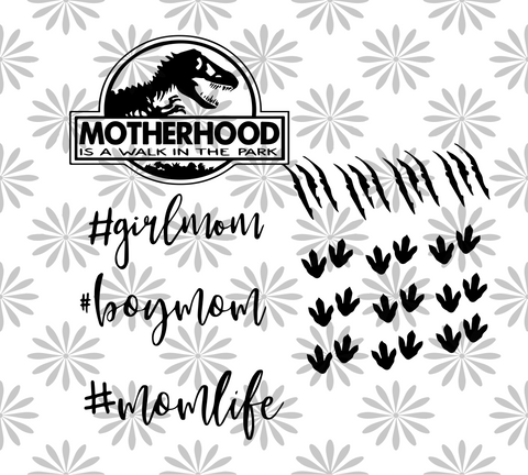 Motherhood is a walk in the park, dinosaur mom gift, PNG, DXF, EPS, PDF, SVG