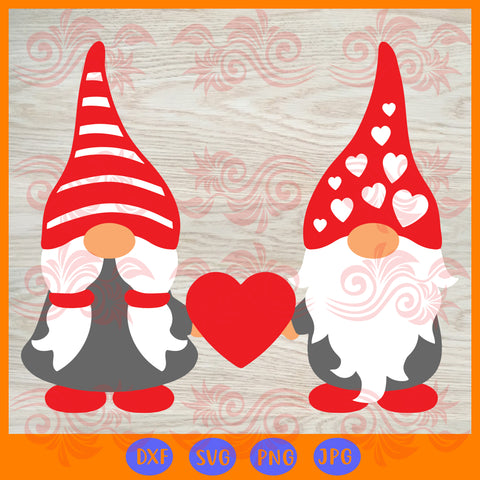 Two gnomes holding hearts, JPG, PNG, DXF, SVG