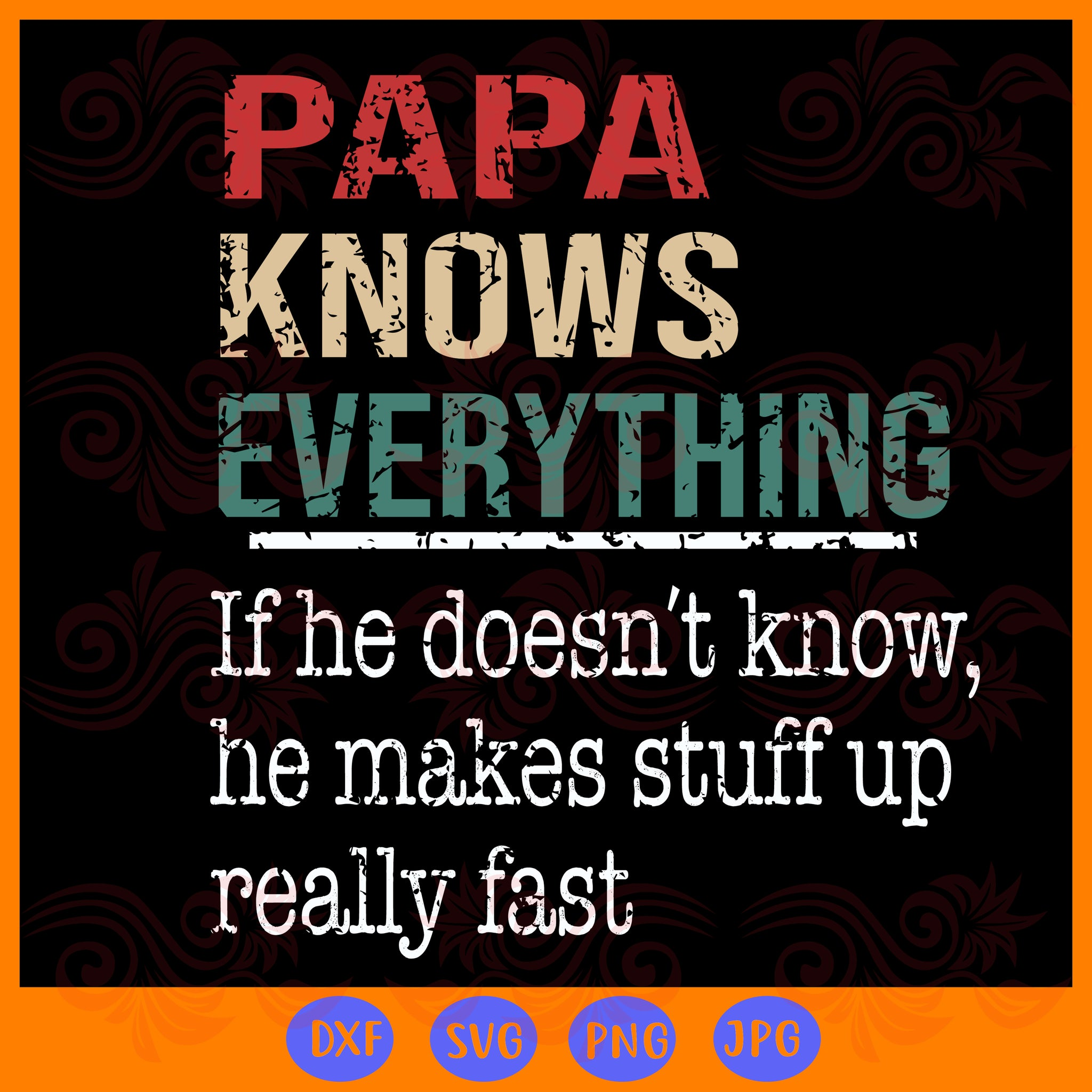 Papa knows everything SVG Files For Silhouette, Files For Cricut, SVG, DXF, PNG Instant Download