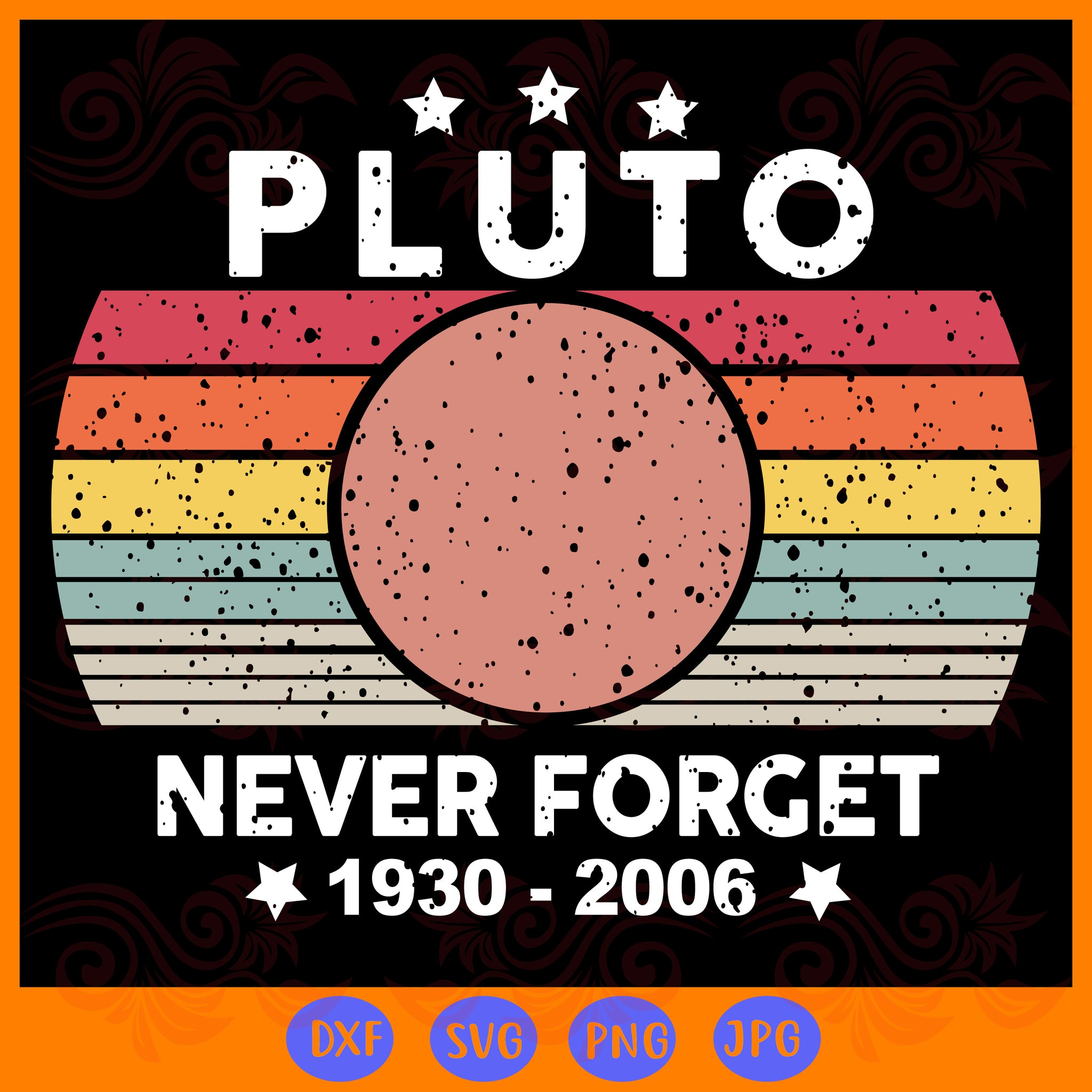 Never forget pluto, PNG, DXF, SVG