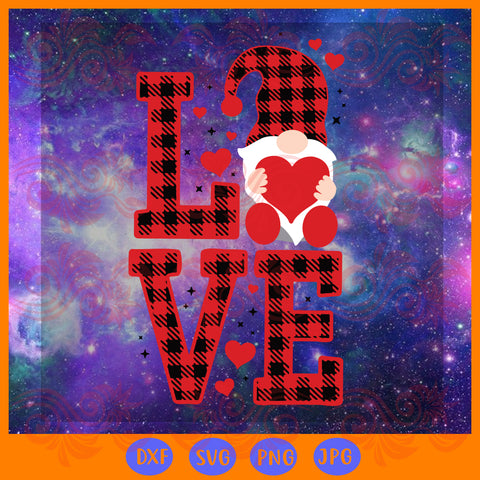 Love plaid, valentiens gnome, JPG, PNG, DXF, SVG