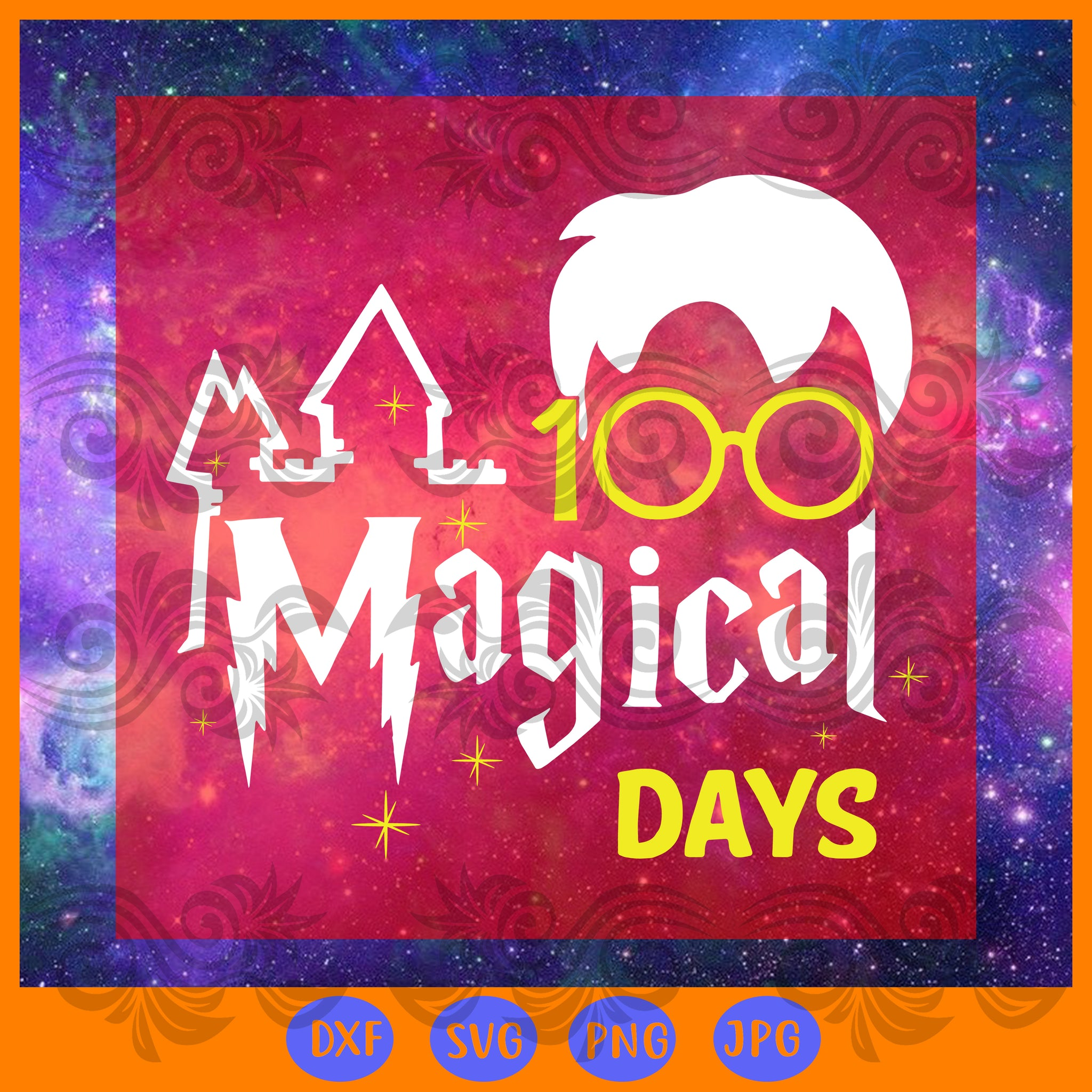 100 magical days wizard, JPG, PNG, DXF, SVG