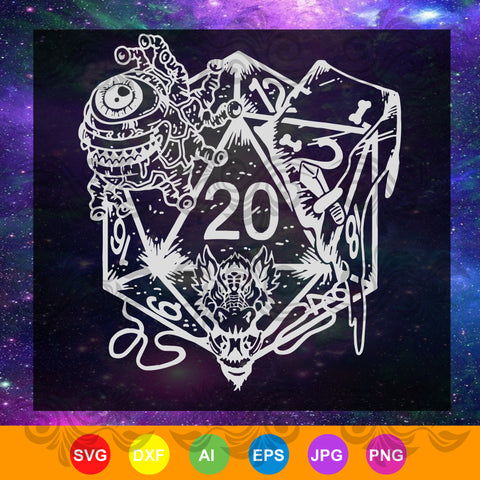 Role Playing Dungeons Gift Dice Art D20 RPG Fantasy, fantasy games SVG, DXF, EPS, PNG Instant Download